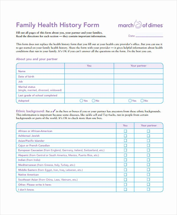 Dental Medical History form Template Fresh Medical History form 9 Free Pdf Documents Download