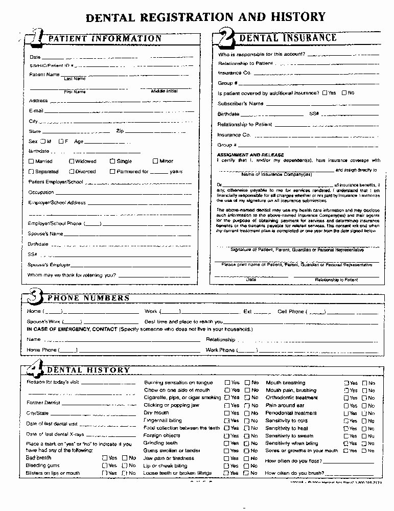Dental Medical History form Template New 27 Of Dental New Patient forms Template