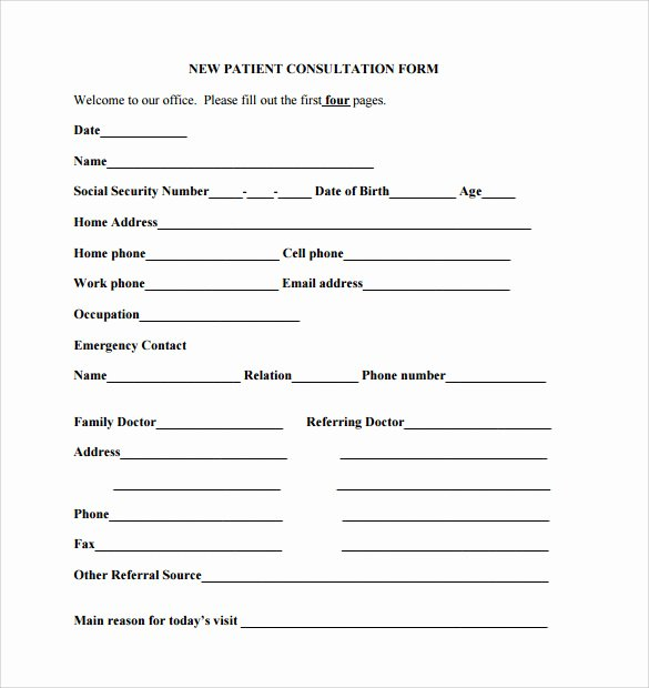 Dental Patient Registration form Template Inspirational Sample Medical Consultation form 11 Download Free