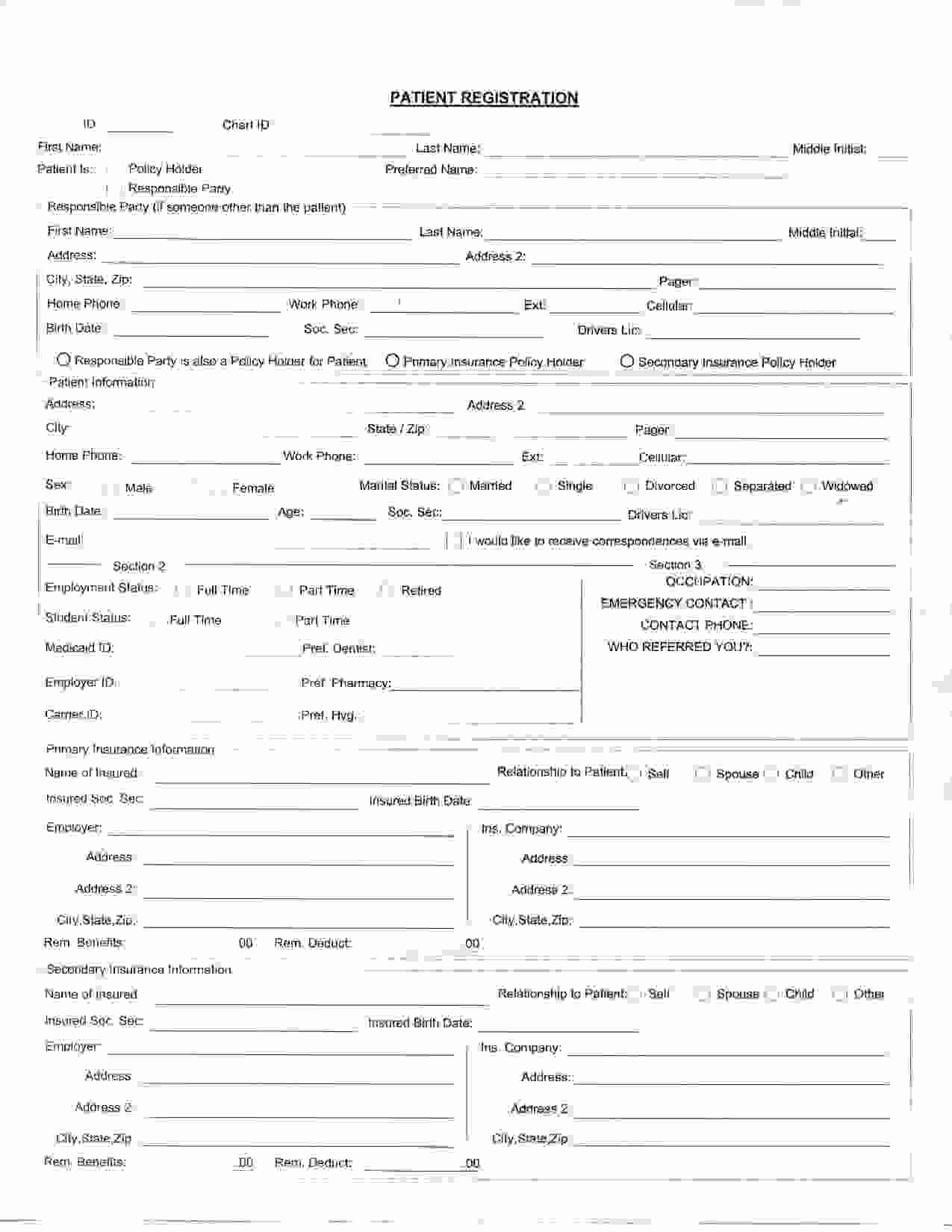 Dental Patient Registration form Template Luxury Best S Of Printable Patient Registration forms