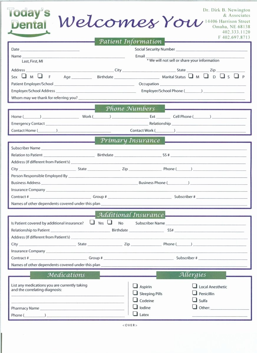 Dental Patient Registration form Template New 27 Of Dental New Patient forms Template