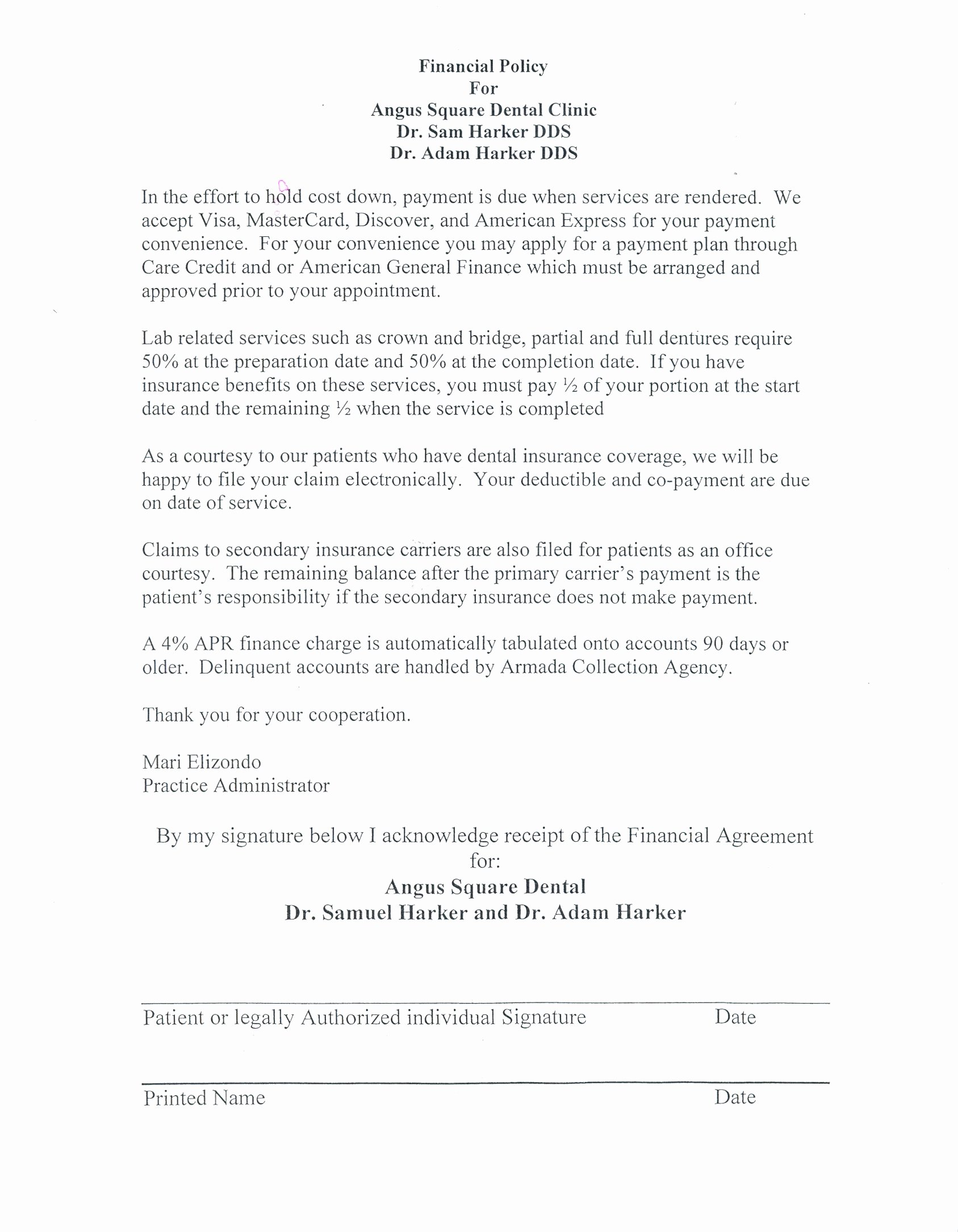 Dental Payment Plan Agreement Template Lovely First Visit