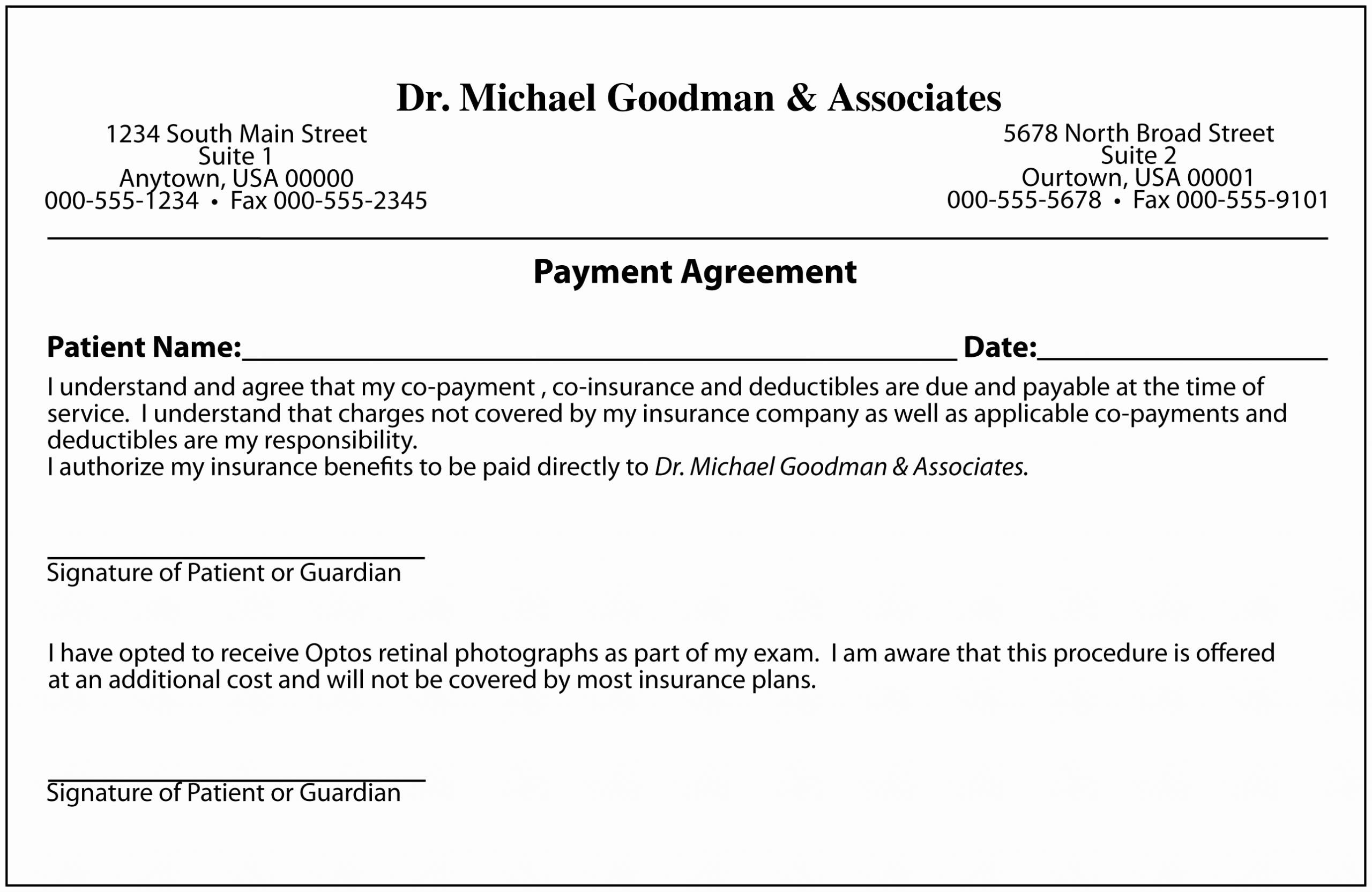 Dental Payment Plan Agreement Template New Agreement Template Category Page 1 Efoza