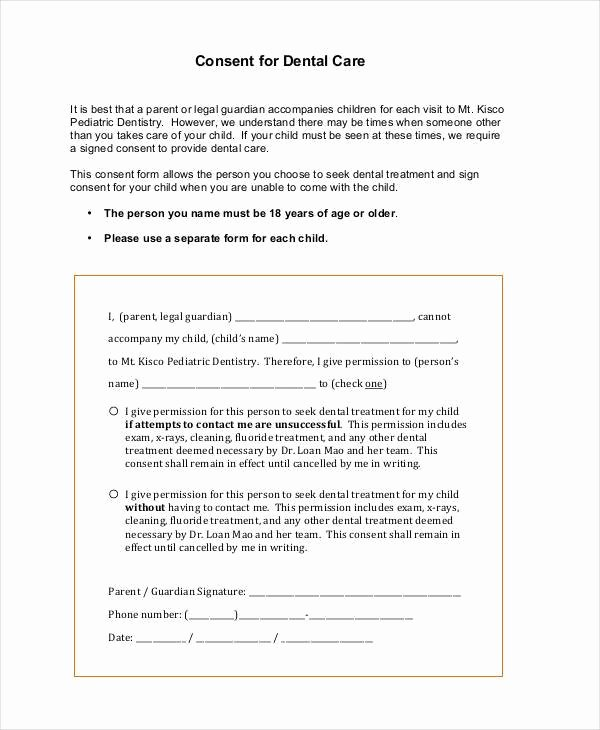 Dental Treatment Consent form Template Best Of Free 44 Consent form Samples In Sample Example format