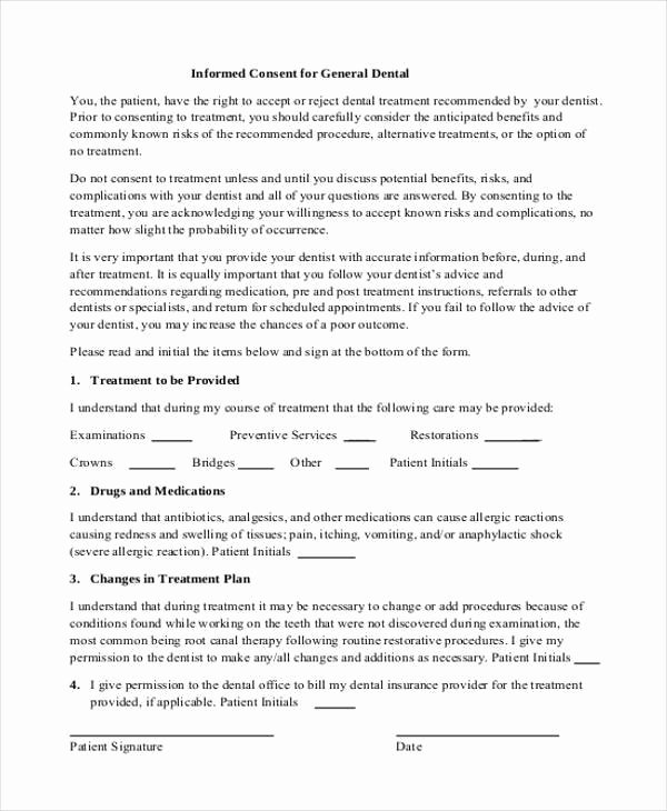 Dental Treatment Consent form Template Best Of Free 7 Dental Consent form Samples In Sample Example format