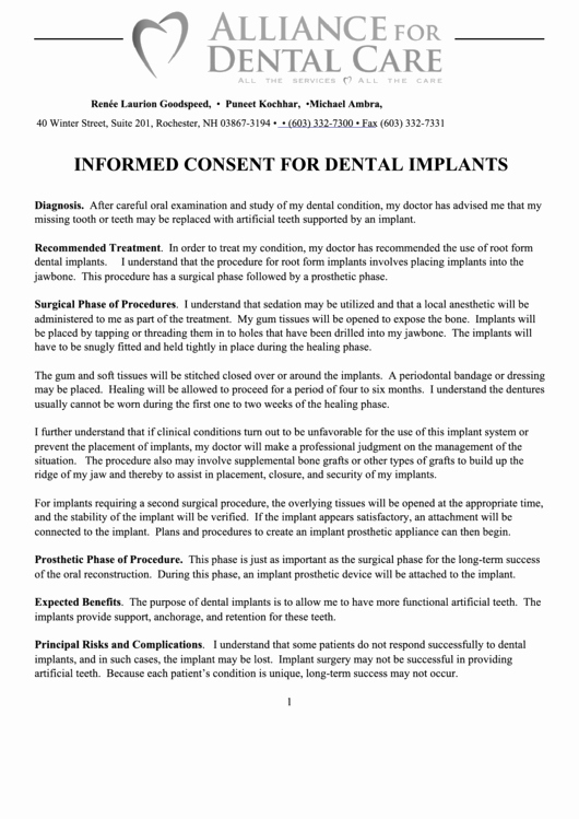 Dental Treatment Consent form Template Best Of top Dental Implant Consent form Templates Free to