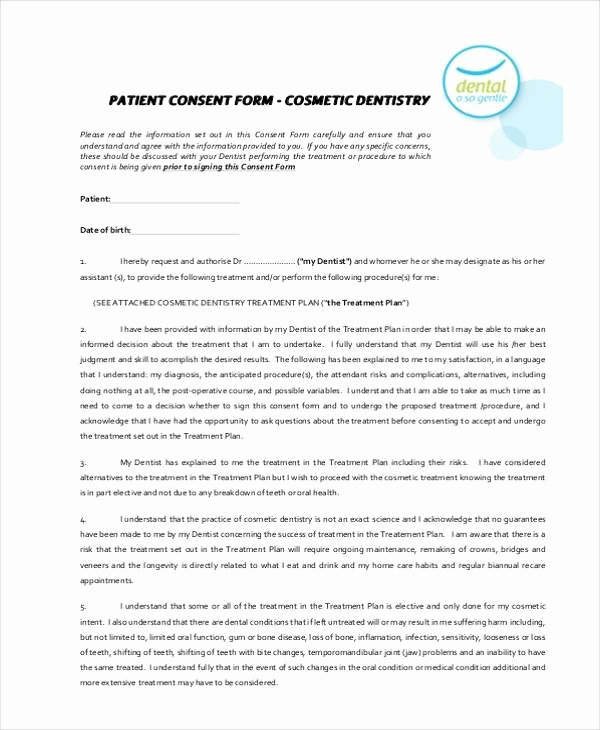 Dental Treatment Consent form Template Inspirational Free 7 Dental Consent form Samples In Sample Example format