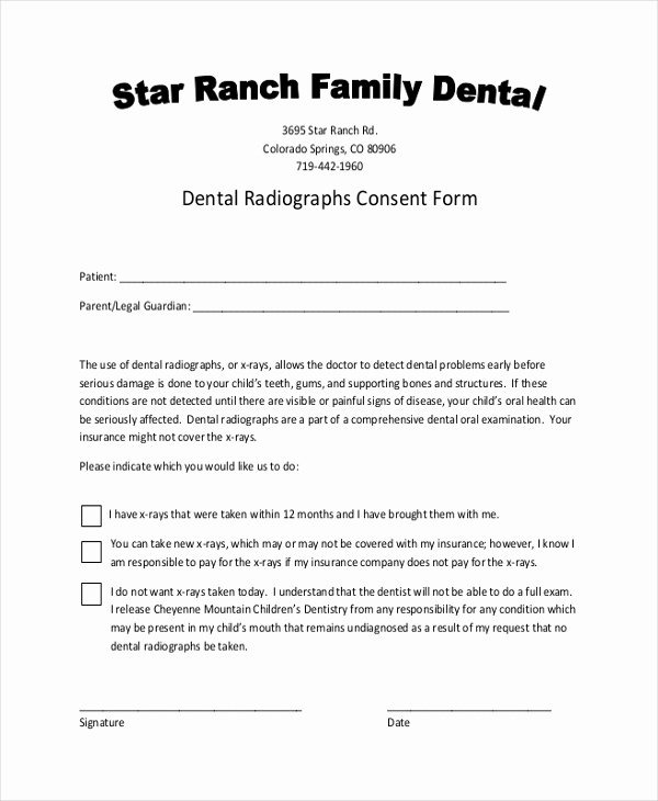 Dental Treatment Consent form Template Lovely Free 10 Sample Dental Consent forms