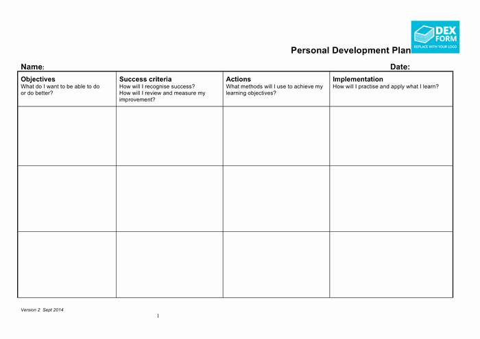 Development Plan Template Word New Personal Development Plan Template In Word and Pdf formats