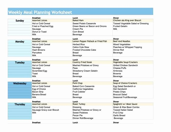Diabetes Meal Plan Template Awesome Weekly Meal Planning Worksheet Meal Planning