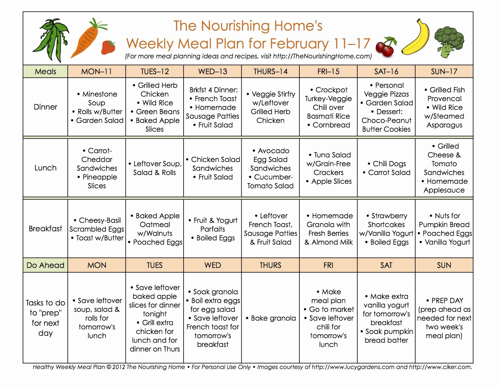 Diabetes Meal Plan Template New Meal Plan Monday February 4–17 the Nourishing Home