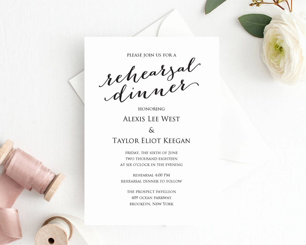 Dinner Invitation Template Free Awesome Rehearsal Dinner Invitation Template Diy Printing Custom