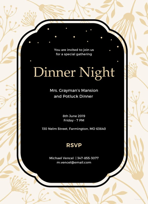 Dinner Invitation Template Free Luxury 40 Dinner Invitation Templates Free Sample Example