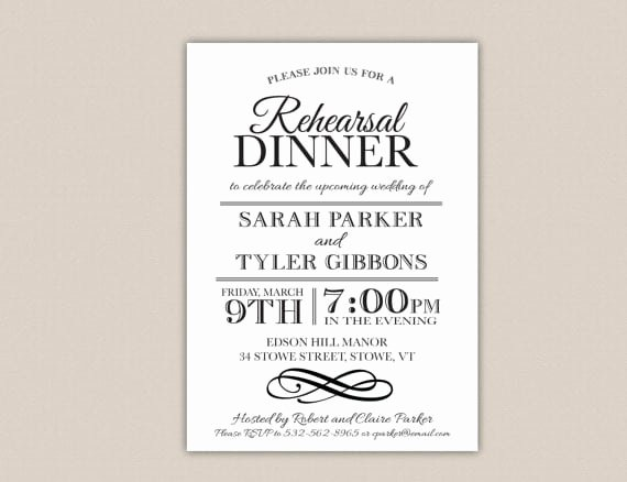 Dinner Invitation Template Free Luxury Free Printable Rehearsal Dinner Invitation Template