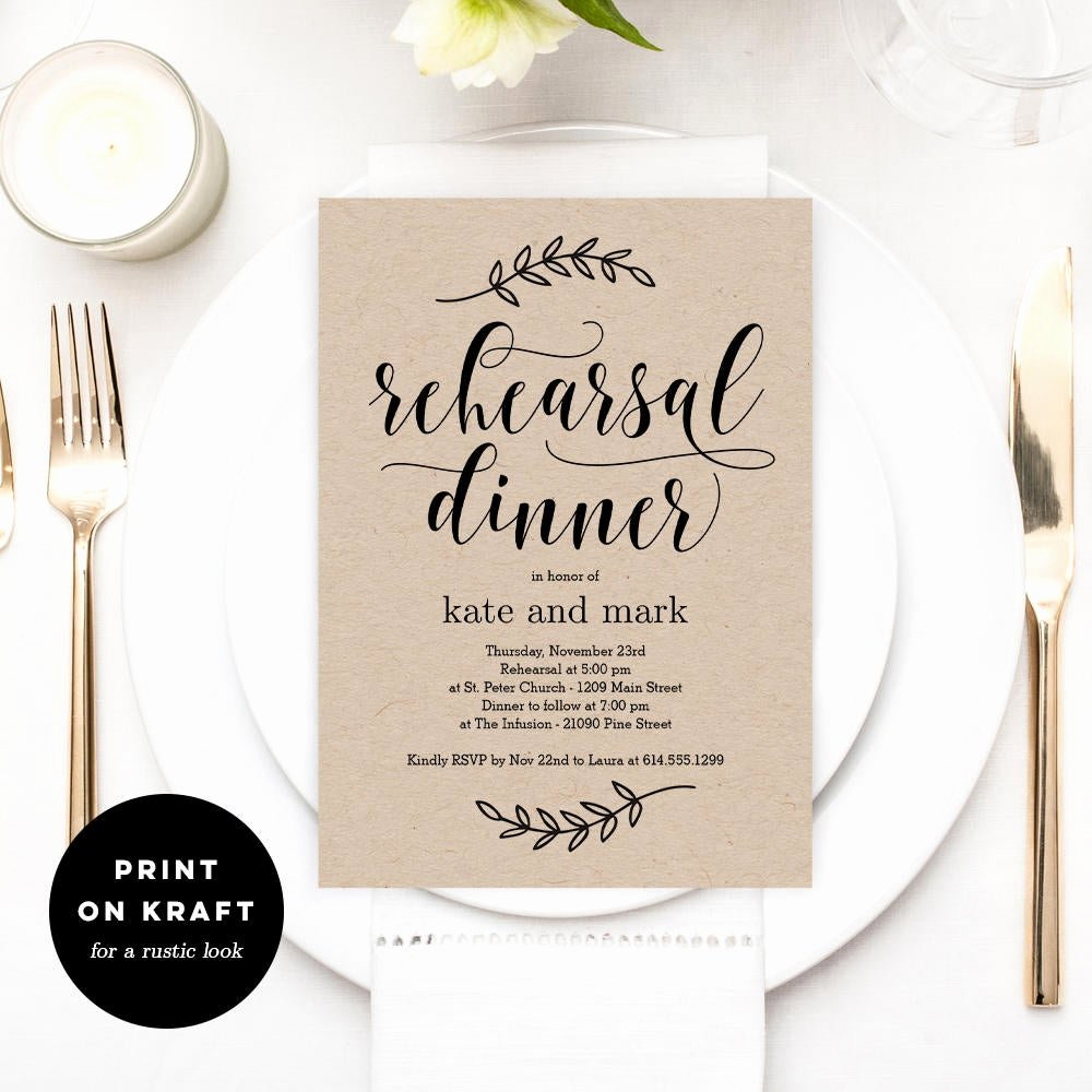 Dinner Invitation Template Free Printable Beautiful Printable Rehearsal Dinner Invitation Template Rustic