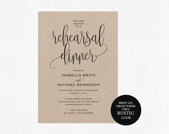Dinner Invitation Template Free Printable Inspirational Rehearsal Dinner Invitation Template Rehearsal Printable