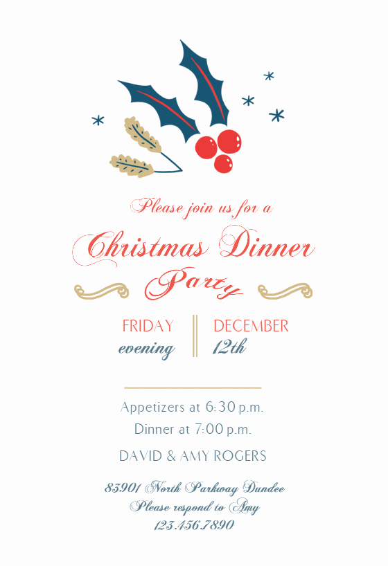 Dinner Invitation Template Free Printable Lovely December Dinner Christmas Invitation Template Free