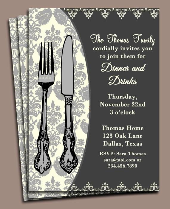 Dinner Invitation Template Free Printable Lovely Dinner Invitation Printable or Printed with Free Shipping