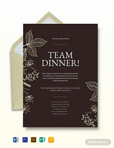 Dinner Invitation Template Free Unique Team Dinner Invitation Template Word Psd