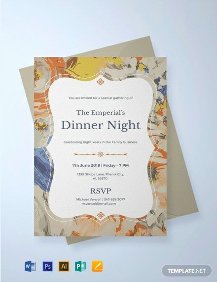 Dinner Invitation Template Word Beautiful Free formal Dinner Invitation Template Word