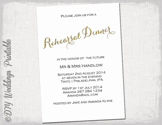 Dinner Invitation Template Word Beautiful Rehearsal Dinner Invitation Template Gold Glitter