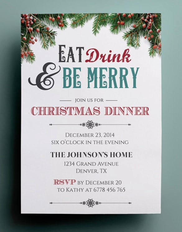 Dinner Invitation Template Word Elegant Christmas Dinner Invitation