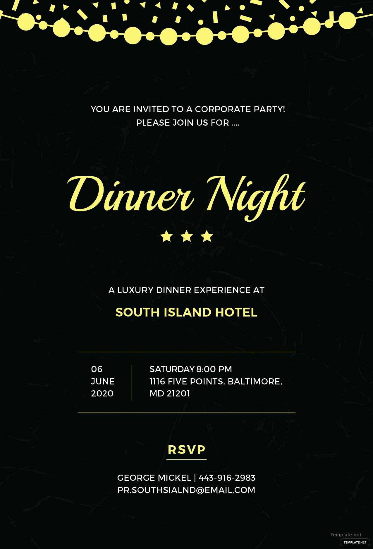 Dinner Invitation Template Word Fresh Free Pany Dinner Night Invitation Template In Adobe