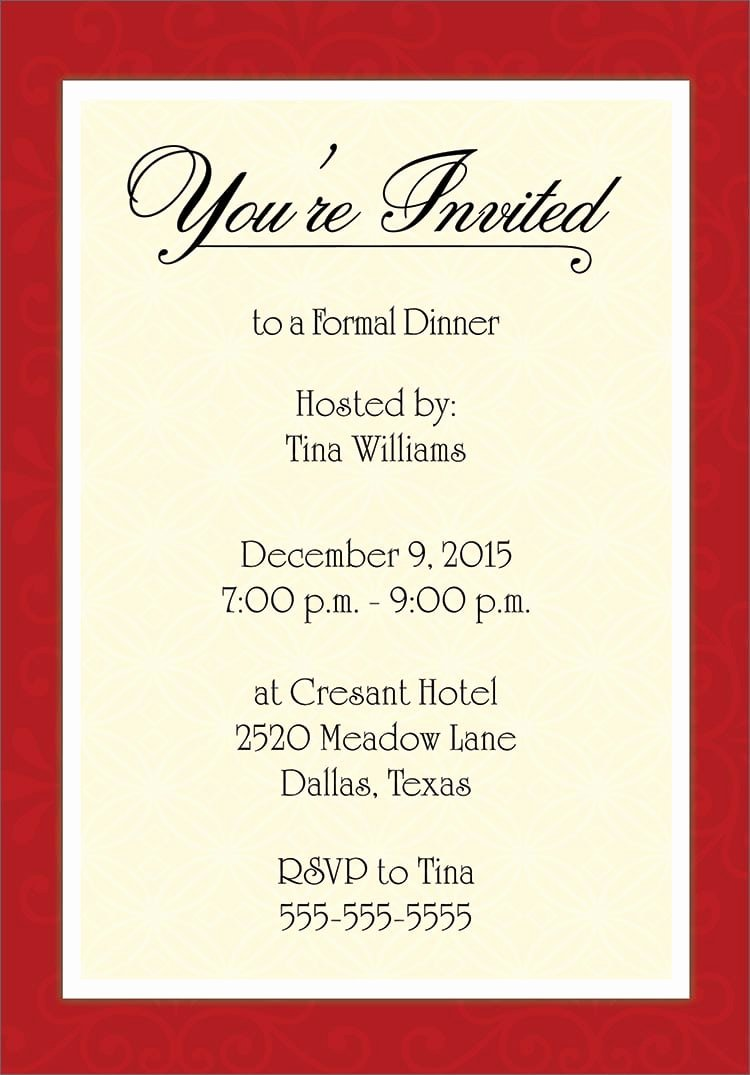 Dinner Invitation Template Word Inspirational Invitation Template Word