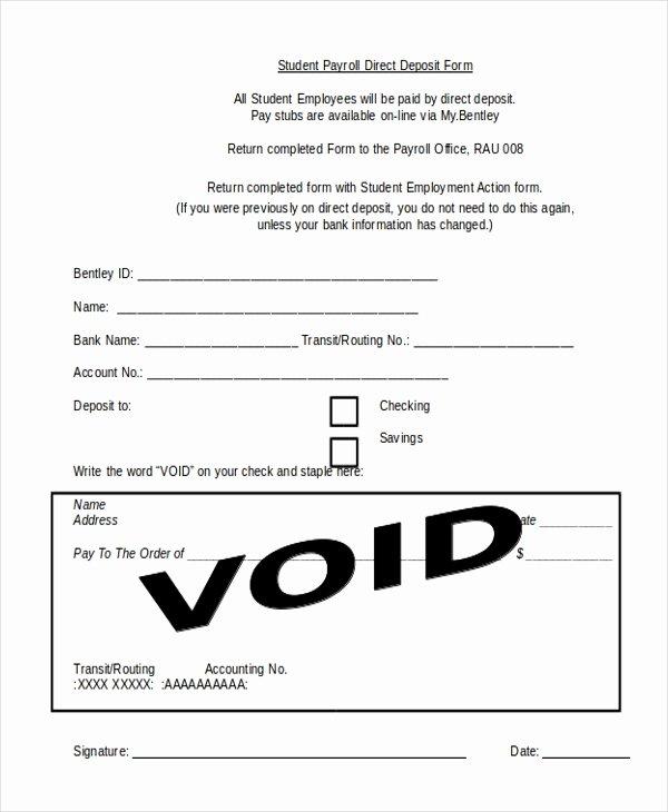 Direct Deposit form Template Word Elegant Free 9 Sample Payroll Direct Deposit forms In Pdf