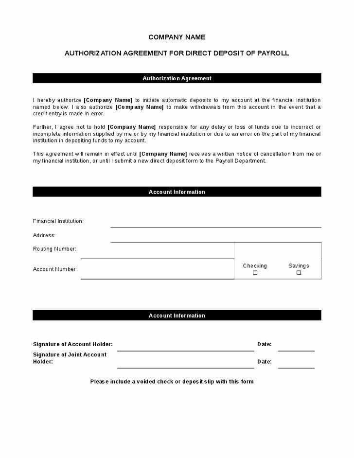 Direct Deposit form Template Word Unique 5 Direct Deposit form Templates Excel Xlts