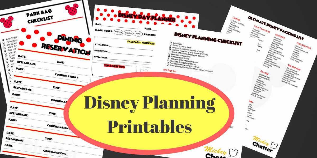 Disney Vacation Planner Template Beautiful Disney Planning Printables Mickey Chatter