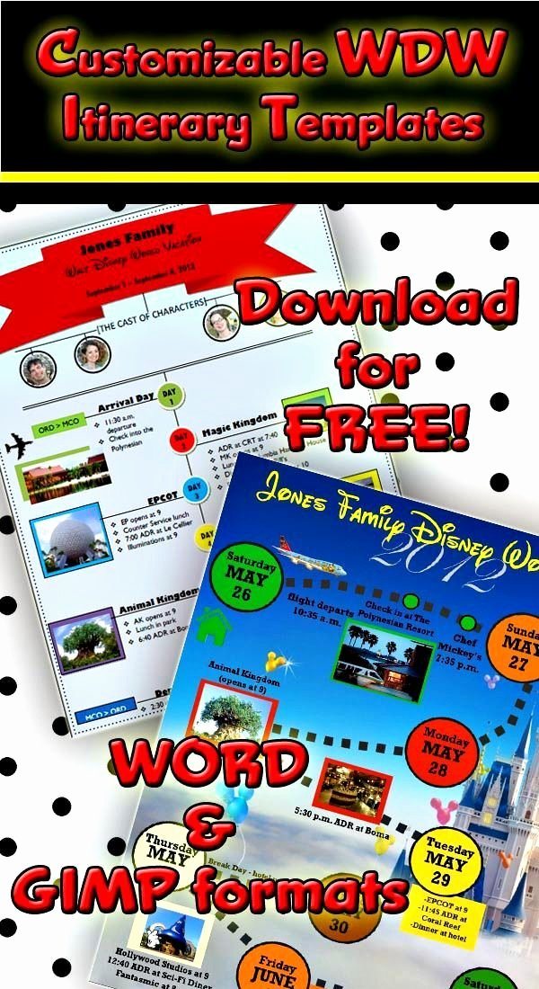 Disney Vacation Planner Template Best Of 2 Custom Disney World Itinerary Templates