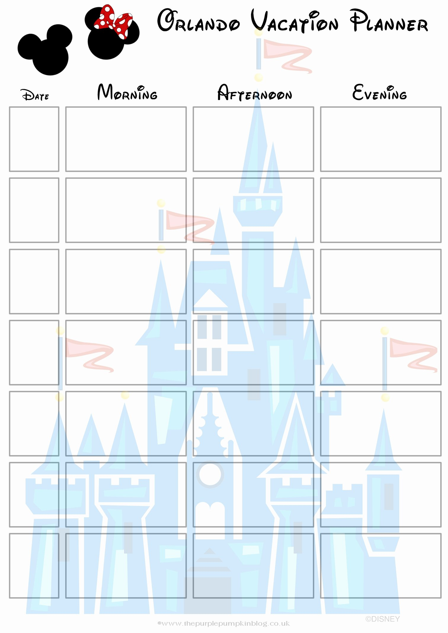 Disney Vacation Planner Template Best Of orlando Walt Disney World Vacation Planner Free Printable