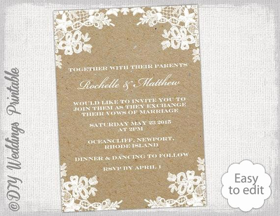 Diy Wedding Invitation Template Free Best Of Rustic Wedding Invitation Template Diy Rustic Lace