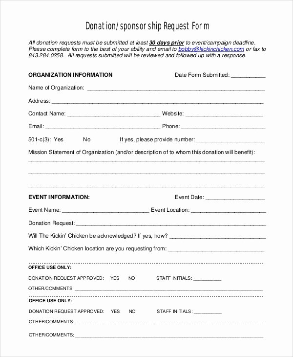 Donation form Template Free Lovely 10 Sample Donation Request forms Pdf Word