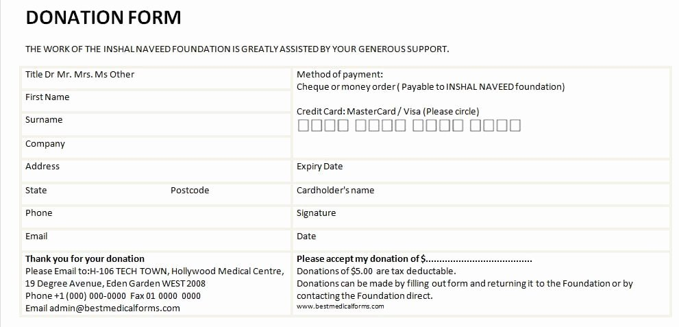 Donation form Template Pdf Inspirational 6 Free Donation form Templates Excel Pdf formats
