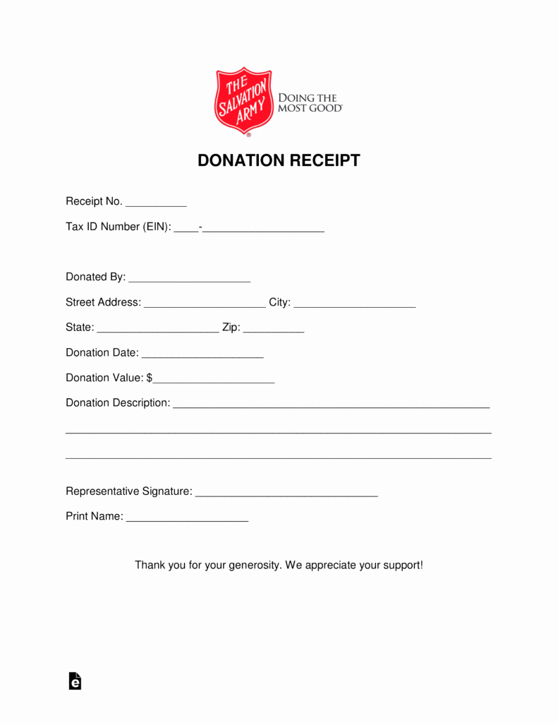 Donation form Template Pdf Inspirational Free Salvation Army Donation Receipt Pdf Word