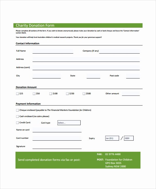Donation form Template Pdf Inspirational Sample Donation form 6 Documents In Pdf Word