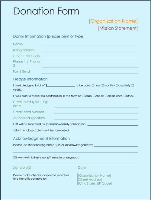 Donation form Template Pdf Luxury Donation form Template