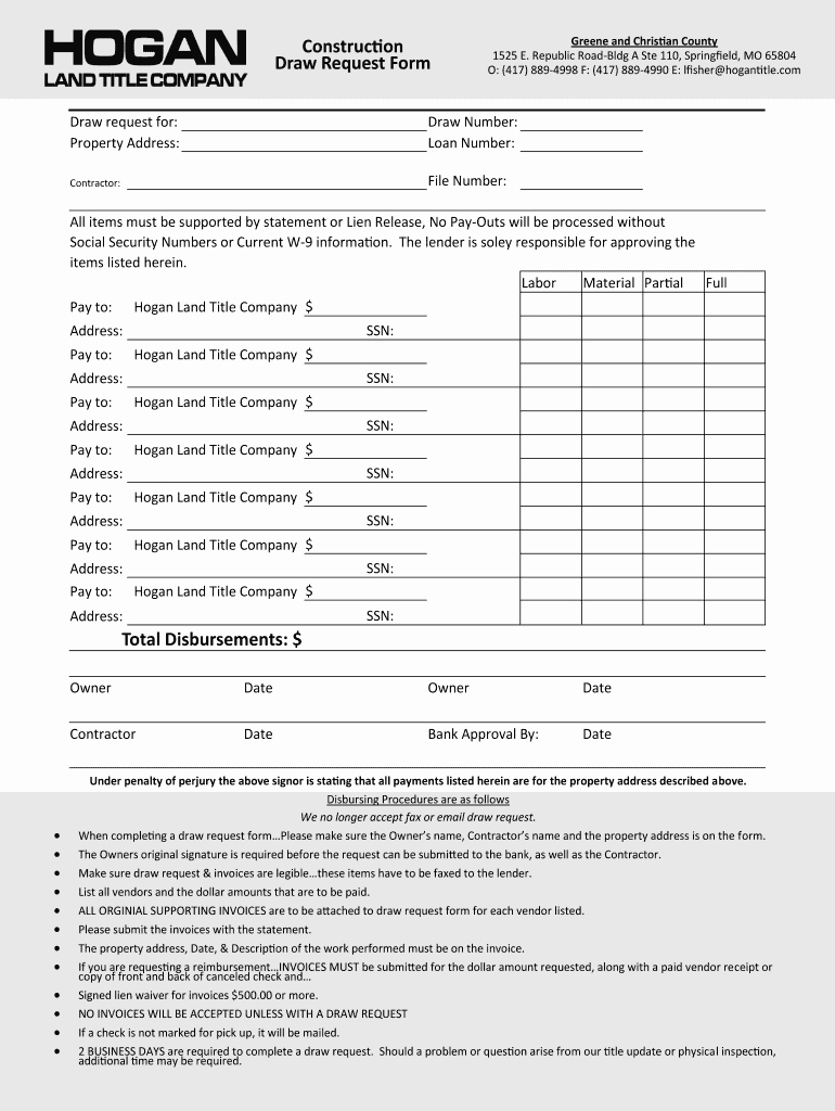 Draw Request form Template Lovely Construction Draw Request form Template Fill Line