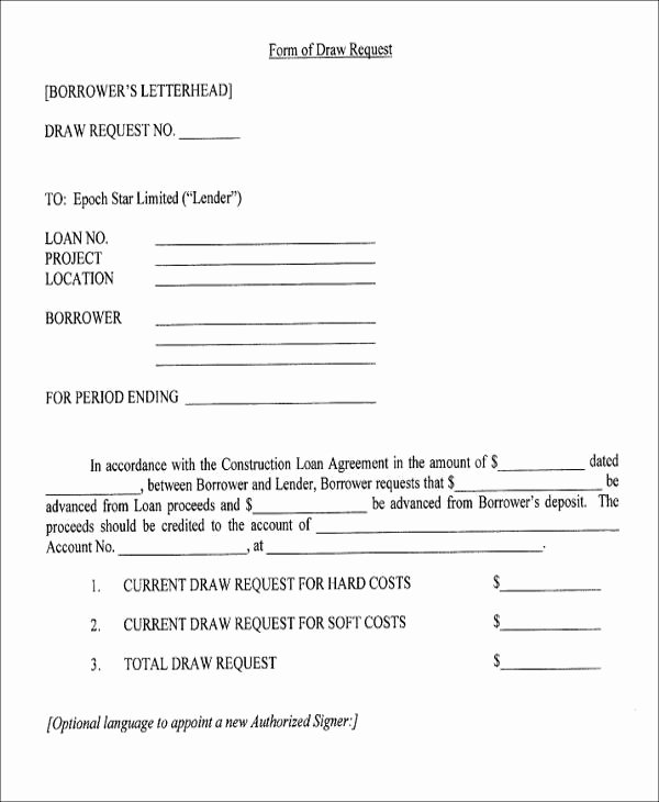Draw Request form Template New Agreement form format