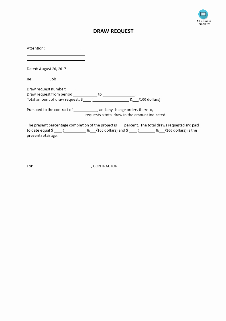 Draw Request form Template New Draw Request