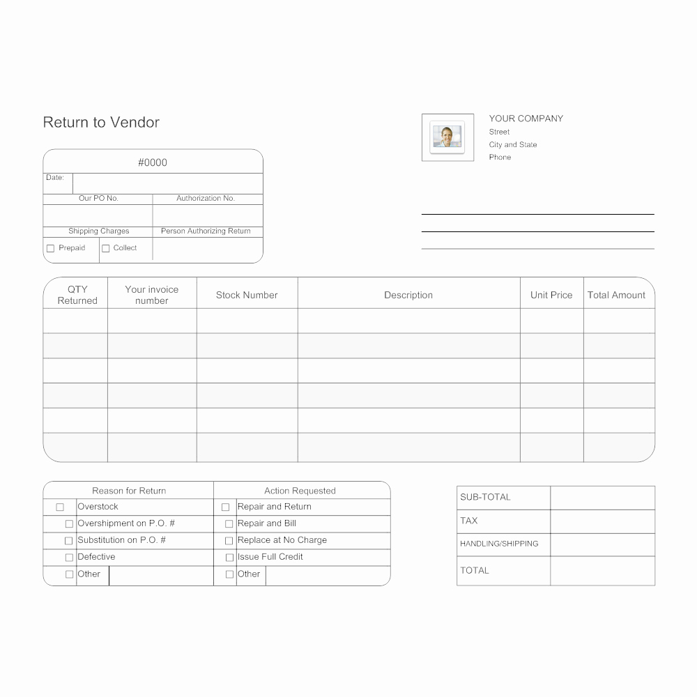 Draw Request form Template New Return to Vendor form