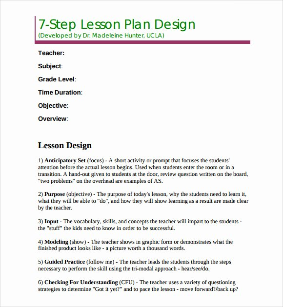 Edi Lesson Plan Template Fresh Madeline Hunter Lesson Plan Template Templates Resume