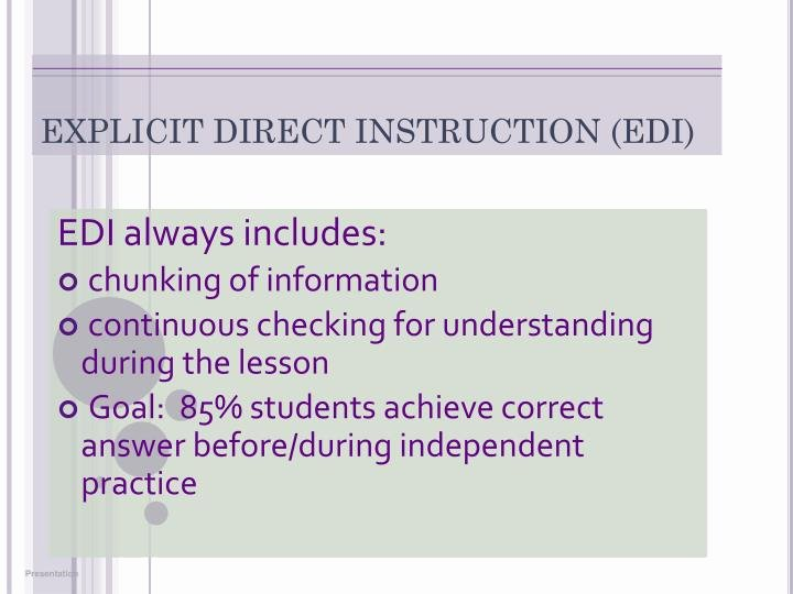Edi Lesson Plan Template Fresh Ppt Secondary Explicit Direct Instruction and