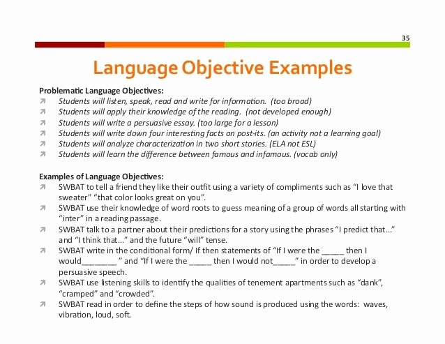 Eld Lesson Plan Template Lovely Content Objectives Vs Language Objectives Google Search