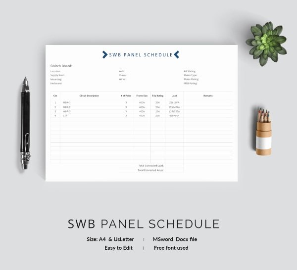 Electrical Panel Schedule Template Download Fresh 19 Panel Schedule Templates Doc Pdf