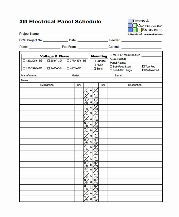 Electrical Panel Schedule Template Download Inspirational Sample Panel Schedule Template 7 Free Documents