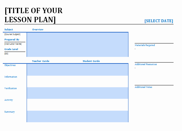 Elementary Lesson Plan Template Word Best Of Printable Lesson Plan Archives Blue Layouts