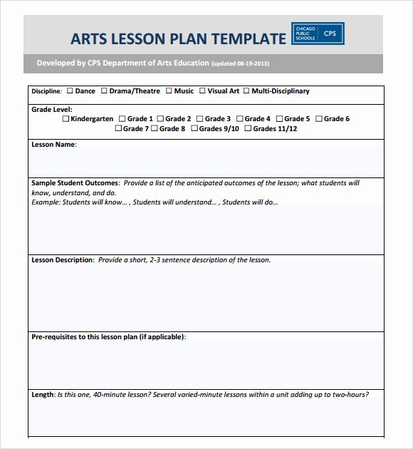 Elementary Lesson Plan Template Word Inspirational Sample Art Lesson Plans Template 7 Free Documents In Pdf